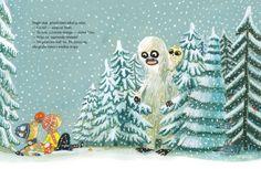 """Rozkładówka z książki """"Yeti"""". Autor: Eva Susso, ilustracje: Benjamin Chaud."""
