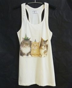 Cat family tank top dress/ off white shirt/ by WorkoutShirts