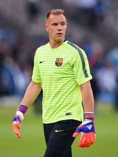 Marc-Andre ter Stegen of Barcelona looks on during an FC Barcelona training session on the eve of the UEFA Champions League Final match against Juventus at Olympiastadion on June 5, 2015 in Berlin, Germany.
