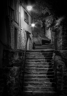 Limoges - Stairs by bill baroud on Limoges, Beautiful Places, Stairs, France, Black And White, Pictures, Night, White Photography, Fotografia