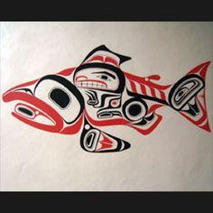 Rare Bill Reid Haida Art Dog Salmon Print
