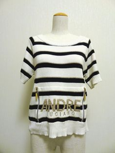 ANDRE LUCIANO Striped sweater short sleeve Women's KAWAII CUTE  FREE SHIPPING #ANDRELUCIANO #PULLOVER