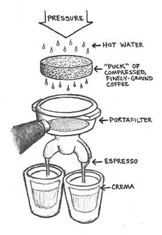 What's it take to make great espresso? High pressure, hot water, and finely ground, quality coffee.