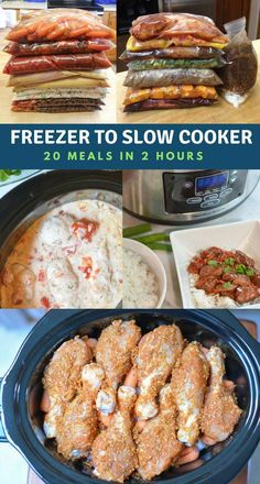 Freezer to Slow Cooker. Over 35 easy to make family recipes. Prep 20 meals in just 2 hours. Freeze the easy slow cooker recipes and thaw when you want to use them. Perfect for busy weeknights new mom Slow Cooker Freezer Meals, Crock Pot Freezer, Healthy Freezer Meals, Make Ahead Meals, Freezer Cooking, Slow Cooker Recipes, Freezer Recipes, Slow Cooker Meal Prep, Chicken Freezer Meals