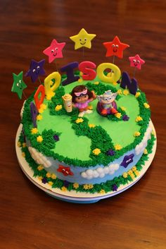 Cake Effect: Dora the Explorer Cake! Dora, Boots, Birthday, clouds, stars, dora cake