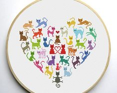 Floral Cat cross stitch pattern set of 4 patterns Instant