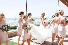 Tres Chic Affairs - Lovelock & Co. Photography - Splendid Sentiments Florals - Erin Luce, Unveiled Bridal Beauty - Blush - Ivory - Gold  - San Diego - Scripps Seaside Forum - Beach Wedding - Lace - Bridesmaids - gown