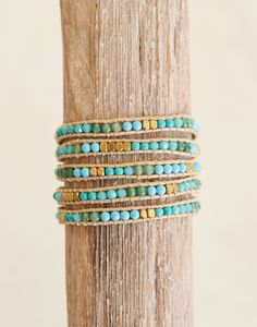 Stone + Crystal Wrap Bracelet - Wave