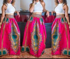 Jupe maxi dashiki, imprimé africain, jupe Dashiki, tissu africain, tissu Ankara…