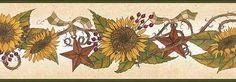 Sunflowers and Tin Stars Wallpaper Border - Wallpaper & Border | Wallpaper-inc.com