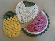 crochet fruit potholders