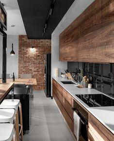 contemporary kitchen tiles for backsplash Industrial Kitchen Design, Modern Kitchen Design, Modern Industrial, Vintage Industrial, Kitchen Contemporary, Industrial Lighting, Industrial Stairs, Contemporary Interior, Wood Interior Design