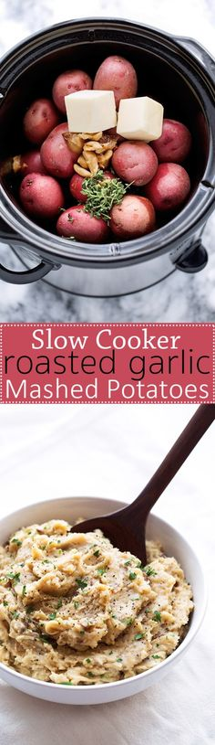Roasted Garlic Mashed Potatoes - Learn how to make roasted garlic mashed potatoes in the slow cooker! Perfect for Thanksgiving! #slowcooker #mashedpotatoes #crockpot #roastedgarlic | Littlespicejar.com