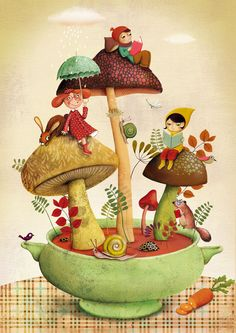 Gardening Autumn - soupe_automne lovely little elves gnomes and mushrooms. - With the arrival of rains and falling temperatures autumn is a perfect opportunity to make new plantations Art Fantaisiste, Anne Geddes, Mushroom Art, Mushroom Soup, Children's Book Illustration, Whimsical Art, Gnomes, Cute Art, Elves