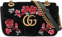GG Marmont embroidered velvet mini bag