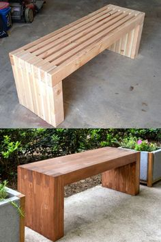 21 easy DIY benches best tutorials free plans to build upholstered or wood benches with back outdoor garden benches IKEA hack storage crate bench ideas more A Piece of Rainbow patio porch backyard interior design Outdoor Garden Bench, Patio Bench, Diy Outdoor Furniture, Diy Patio, Garden Furniture, Indoor Outdoor, Outdoor Decor, Diy Furniture, Barbie Furniture