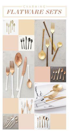 Charming flatware sets, entertaining ideas, flatware, gold spoons.