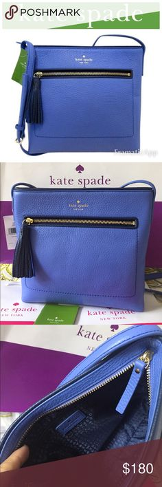 """SALE♠️Kate Spade NewYork Leather CrossBody Bag ♠️Kate Spade Dessi Chester Street Crossbody bag / Nautical themed ocean blue leather, perfect small bag. Wear this adjustable leather strap on your shoulder or cross body, 20-24"""" drop // 9.5"""" L c 10"""" H x 2"""" W // A lovely bag for day or night, a Kate Spade must have! Brand New with tags & care booklet. SMOKE FREE kate spade Bags Crossbody Bags"""