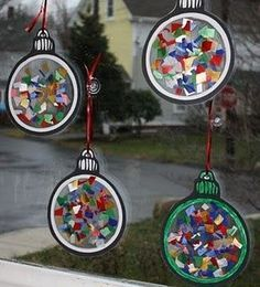 christmas crafts for kids - Christmas ornament window light catchers (contact paper sticky side up - add tissue paper - another sheet of contact paper, and cut out. Christmas Projects, Holiday Crafts, Holiday Fun, Child Christmas Crafts, Christmas Crafts For Kids To Make At School, Homemade Christmas, Christmas Decorations For Kids, Tree Decorations, Christmas Ideas