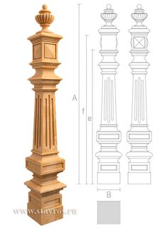 Ornamental staircase pillar - Wooden stair parts Oak Newel Post, Stair Newel Post, Newel Posts, Staircase Railing Design, Interior Railings, Interior Stairs, Banister Rails, Front Door Design Wood, Door Gate Design
