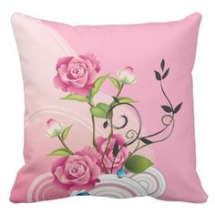 Shop Three Pink Roses Throw Pillow created by DiramsWares. Pink Pillows, Throw Pillows, Custom Pillows, Pink Roses, Decorating Your Home, Third, Cotton Fabric, Girly, Make It Yourself