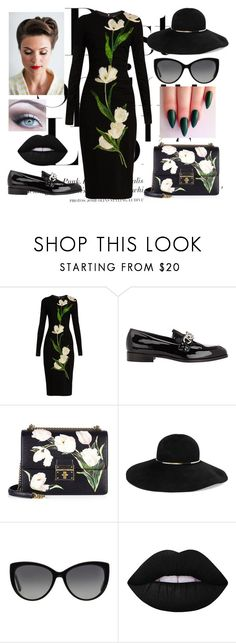 """Grave Sight"" by the-real-snow-white101 ❤ liked on Polyvore featuring H&M, Dolce&Gabbana, Prada, Eugenia Kim, Michael Kors and Lime Crime"