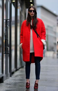 Don't be afraid to try a bright coat this season.