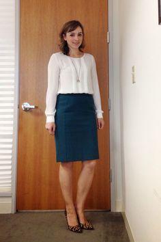 White blouse, comfy pencil skirt and leopard pumps