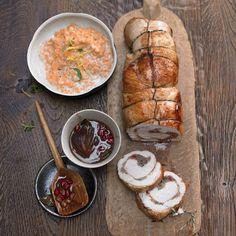 Rezept: Puten-Rollbraten mit Granatapfel-Sosse und Sahnelinsen - [LIVING AT HOME]
