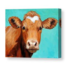 Guernsey Cow Art, Farm Animal Print, Face on Light Teal, Painting by Dottie Dracos, paper or canvas Guernsey Cow, Farm Paintings, Animal Paintings, Cow Pictures, Pictures To Paint, Holstein Cows, Cow Face, Cow Painting, Animals