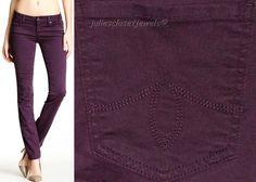 LEVEL 99 Skinny Straight Jeans Stretch Pants Anthropologie 27 Purple  #Level99 #SlimSkinny