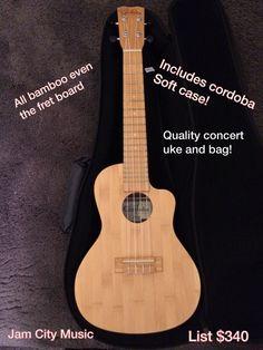 Cordoba 25 CB Concert Acoustic Ac Natural Bamboo Ukulele Uke w/ Quality Bag Bags For Sale Online, Guitar Design, Ukulele, Acoustic, Bamboo, Music Instruments, Concert, Natural, Spain