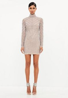 Missguided Silver High Neck Long Sleeve Beaded Mini Dress 88842e708