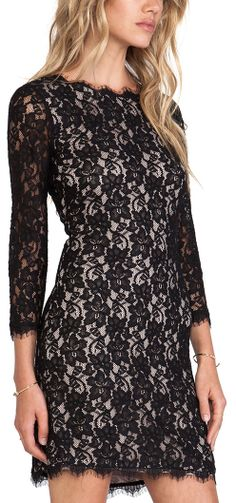 Diane von Furstenberg Colleen Lace Dress in Black. It's $325, and only goes up to size 6. Exclusive!