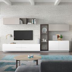 composition tv murale design laquée blanche birdy | un, design and ... - Composition Meuble Tv Design