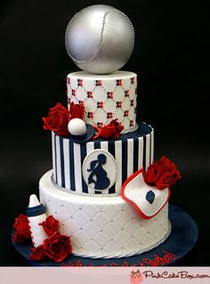 Yankee Themed Baby Shower Cake by Pink Cake Box Torta Baby Shower, Just Cakes, Cakes And More, Beautiful Cakes, Amazing Cakes, Pastries Images, Pink Cake Box, Shower Bebe, Boy Shower