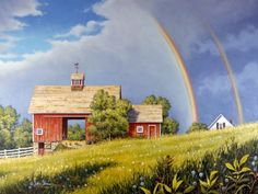 Rainbow's End - John Sloan. The last time I saw a double rainbow was on the farm in Michigan. Many, many, many, years ago.