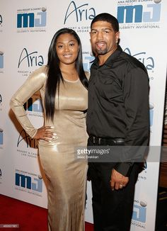 Former boxer Winky Wright and wife Sayquana Sengchanh, 13th annual Michael Jordan Celebrity Invitational, ARIA Resort & Casino, CityCenter, Las Vegas, NV, 2014