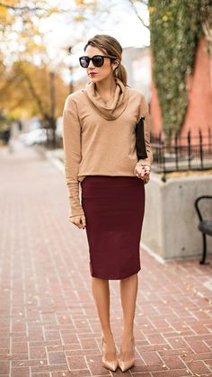 OUTFIT DETAILS: Camel Cowl Neck Sweater (under $30) // Burgundy Pencil Skirt (under $50) //...