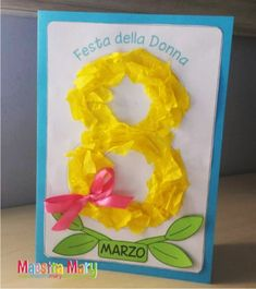 Biglietto - lavoretto per la Festa della Donna Kids Crafts, Fall Crafts For Kids, Diy And Crafts, 8 Mars, 1st Birthday Pictures, Science Experiments Kids, Mothers Day Cards, Ladies Day, Diy Cards