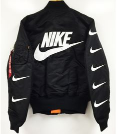 NIKE x PILLAGE MA-1 BOMBER FLIGHT JACKETColor: BlackHand Made In The USASIZE DOWN FROM YOUR T SHIRT SIZE