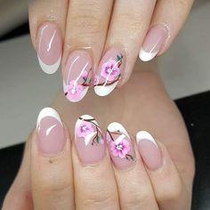 floral nails sakura ideas oval shaped elegant manicure #cherry #nail #art  #ideas