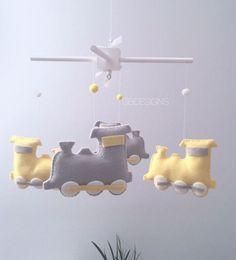 Baby Mobile Baby Crib Mobile Train Mobile  Yellow and Gray