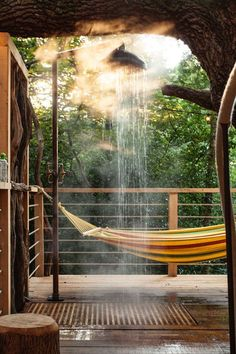 Escape Back To Childhood In This Luxury Treehouse Hotel #refinery29 http://www.refinery29.com/2016/10/127360/woodmans-treehouse-hotel-pictures#slide-7 What better way to commune with nature than through a refreshing shower outside in the secluded woods?...