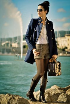 Discover and organize outfit ideas for your clothes. Decide your daily outfit with your wardrobe clothes, and discover the most inspiring personal style Navy Coat, Ray Ban Outlet, Herve Leger, Retail Therapy, Couture Fashion, Oakley Sunglasses, Sexy Lingerie, Personal Style, That Look