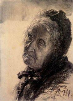 Adolph von (Adolf) Menzel - Portrait of an old woman, 1894: