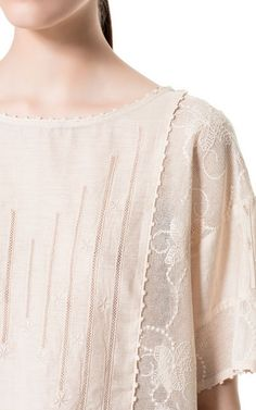 COMBINATION EMBROIDERED TOP - Shirts - Woman - ZARA United States