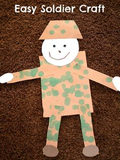 Easy Soldier Craft for Veteran's Day.simple shapes Veterans Day craft for kids, using finger prints of all shades of greens and browns for camo Remembrance Day Activities, Veterans Day Activities, Holiday Activities, Preschool Activities, Remembrance Sunday, Kindergarten Literacy, Daycare Crafts, Classroom Crafts, Toddler Crafts