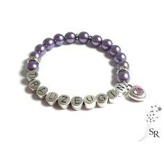 Accessoires - Perlen Strass Armband lila flieder Trauzeugin edel Geschenk Hochzeit - ein Designerstück von sweetrosy bei DaWanda