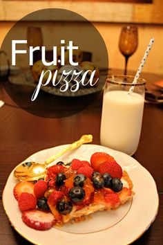 Easy Fruit Pizza Recipe from The Dreamsicle Sisters A delicious fruit version of a food everyone loves—pizza!  Use seasonal fruit to create this family favorite made with a sugar cookie dough base!